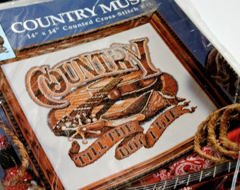 Western Cross Stitch Kit, Vintage Country Music 9994 Air Waves Needle Art DIY Project, Country Till The Day I Die, Guitar itsyourcountry