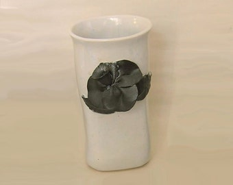Hand Pinched Porcelain Black Rose Glass, Vase or Cup Bathroom Accessories