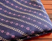 1 Yard-Blue Pure Cotton Sari Fabric-Gold Narrow Border-Recycle Silk Fabric-Silk Ribbon Border-Table Runner-Sari Quilt Fabric