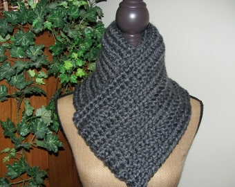 Dark Grey Super Soft Chunky Hand Crocheted Mans Grey Dark Sliver Chicago Charcoal Infinity/Cowl Scarf Lion Brand Acrylic Hometown USA Yarn