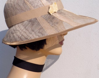 Flapper hat, champagne cloche hat, sinamay sun hat, retro hat, vintage hat, 20s wedding, great Gatsby hat