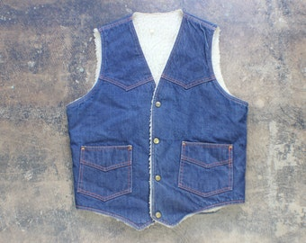 DENIM Vest / Lined Men's Vest / Vintage Dark Denim  Medium Outerwear
