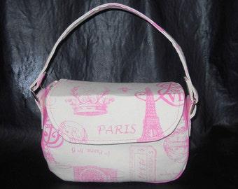 "Pink and White Parisian Pattern fabric , ""Mabel"" Purse, vintage fashion"