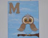 MONOGRAM OWL canvas,  BOY, Art, Handmade