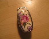 Vintage Floral Silver Lipstick Ring with Mirror Inside/Made in Japan/Fashion Assesories