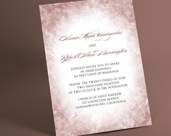 Affordable Wedding Invitations, print your own unique wedding invitation cards, diy wedding invite invitation sets, marsala and other colors