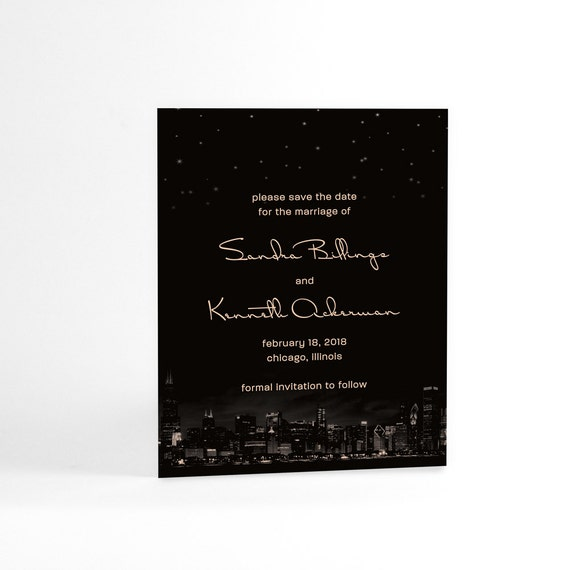 City Wedding Save the Date Cards, Chicago City Skyline and Night Sky's Stars, Downtown Wedding, Impressive Urban Chic, Highrise City Lights