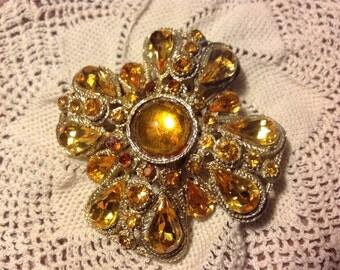 Sale! Beautiful Gold Brooch Pin Pendant Gold Rhinestones