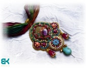 Indian love. Bead embroidered pendant with shibori silk - OOAK - African ruby in fuchsite