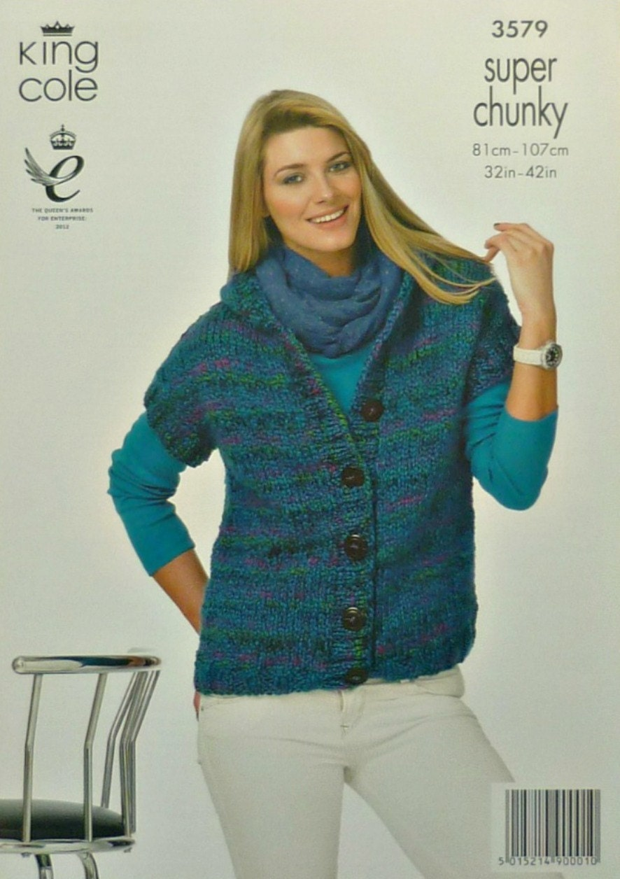 Womens Knitting Pattern K3579 Ladies Easy Knit Hooded Sleeveless Gilet Knitti...
