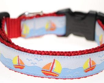 "Sailboats on Blue - 3/4"" Adjustable Dog Collar"