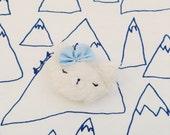 Mohair handmade brooch, white kitten