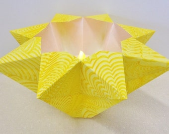 Hand-painted Origami-folded Large Lemon Yellow Luminary