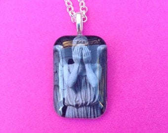 Creepy Weeping Angel Statue  Glass Tile Pendant (Dr Who...don't blink)