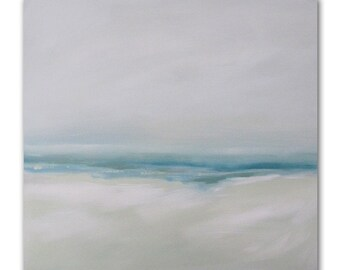 "Painting Acrylic Original, Misty Sands Beach Abstract Seascape- 20"" x 20"""