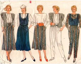 Vintage UNCUT Vogue Pattern 8893 - Misses Jacket, Vest, Top, Skirt & Pants - 6-10