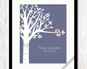 Personalized Family Tree Print with Love Birds Heart Carving, Bride Groom Names Wedding Date, Anniversary Gift, Wedding Gift, Choose Colors