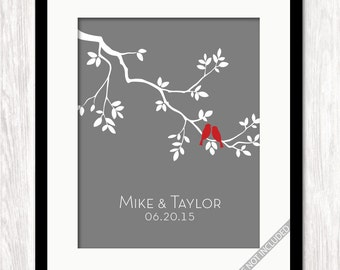 Personalized Wedding Gift, Custom Family Tree Branch with Love Birds Art Print, Gift for Bride Groom, Wedding Gift, Anniversary Housewarming