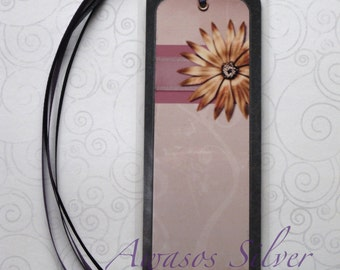 Handmade Laminated Durable Bookmark Flower design2 or gift set with button magnet, mirror or keyring