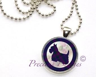 Tartan Scotty Dog Pendant Clan and Tartan jewelry Purple and Pink Plaid Tartan