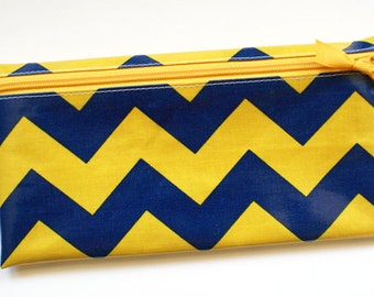 Blue and gold chevron sports fan, school spirit envelope system cash budgeting wallet, 6 tabbed dividers