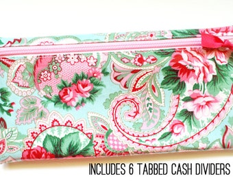 Divide-It cash envelope system wallet with 6 tabbed dividers | roses and paisley laminated cotton