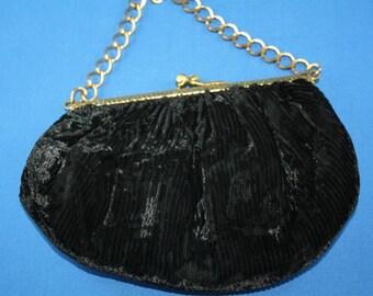 Vintage Black Evening Bag Purse Silk Velvet