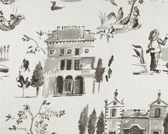 Two 20 x 20 Designer Decorative Pillow Covers - Toile Villa - Grey/Black