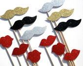 GLAMOUROUS Photo Booth Props  - Silver, Gold, and Black Mustaches, Ruby Red Lips - set of 12 - Classy GLITTER photo props