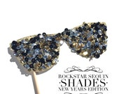 Photo Booth Props - Rockstar Sequin Glitter Sunglasses - NEW YEARS EDITION - Birthdays, Weddings, Parties - Photobooth Props