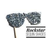 Photo Booth Props - Rockstar Sequin Glitter Sunglasses - Disco Ball Edition