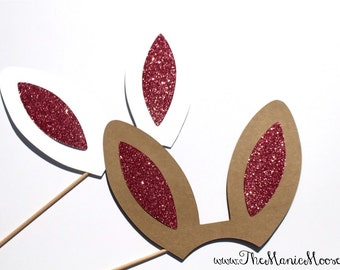 Bunny Photo Booth Props ~ Bunny Ears with Glitter ~ Brown or White Ears Available!