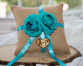 Turquoise Flower Ring Bearer Tan Burlap Pillow over 60 flowers to select from hand engraved wood heart with initials.