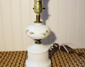 Vintage Milk Glass Boudoir Lamp