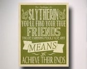Slytherin House Poster / Harry Potter Typography / Hogwarts Houses Collection
