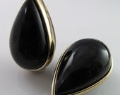 4 Vintage 30x20mm Glossy Black and Metal Banded Lucite Teardrop Beads Bd1272