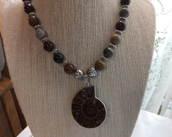 Fossil Pendant Necklace with Jasper Multicolor Beads or Chain