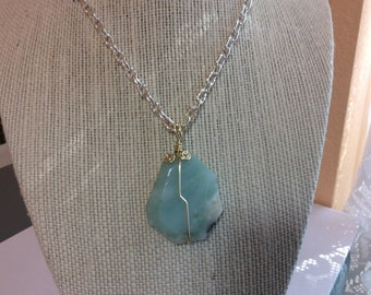 Light Blue Amazonite Wire Wrapped Pendant Necklace