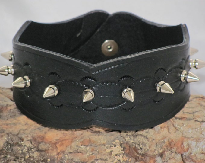 leather choker, black studded leather, Leather neck wear, leather collar, tooled leather collar Steampunk choker . steampunk leather
