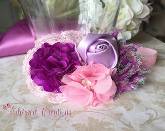 Purple and pink headband, baby headband, newborn headband, girls headband, infant headband, flower headband