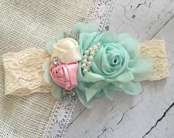SALE Mint, soft pink and cream baby headband, infant headband, toddler headband, girls headband, birthday headband, pageant headband,