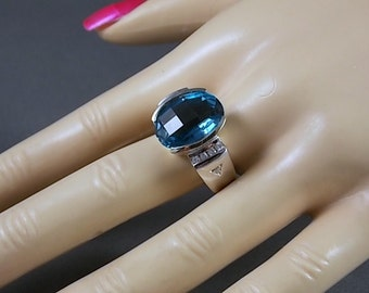 London Blue Topaz and Diamond Ring 10.36Ctw White Gold 14K 11.2gm Size 8.5 December Birthstone