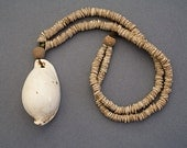 Cowrie Shell and Clam Shell Disc Beads Necklace from Papua New Guinea Ethnic Artifact Mid 20th Century