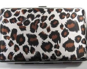 Blank Leopard Fabric ID Case Business Card Credit Card Wallet Cigarettes Supplies