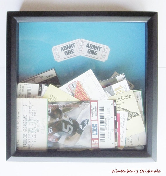 admit one ticket collection shadow box by winterberryoriginals. Black Bedroom Furniture Sets. Home Design Ideas