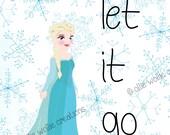 Frozen Wall Art, Let It Go, 8x10, Elsa