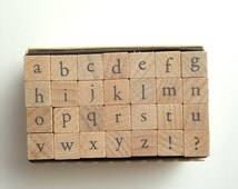 alphabet rubber stamp set. lowercase letter stamp . wood mounted stamp. scrapbooking. card making. large. no4