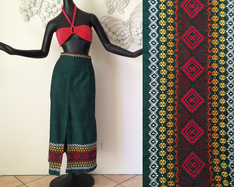 vintage 70s oaxacan skirt 1970 hippie boho maxi skirt mexican