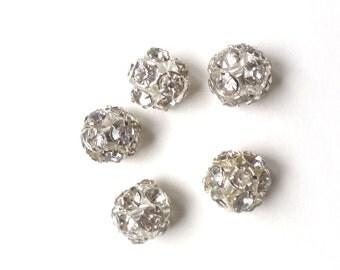 rhinestone crystal bead spacer, silver, rhodium, 10mm, 5pcs
