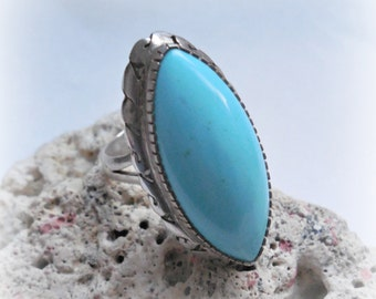 turquoise ring, sterling silver,  vintage jewelry,  statement ring,  size 7 1/2